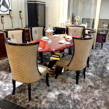 Italian Marble Dining Table Set 6
