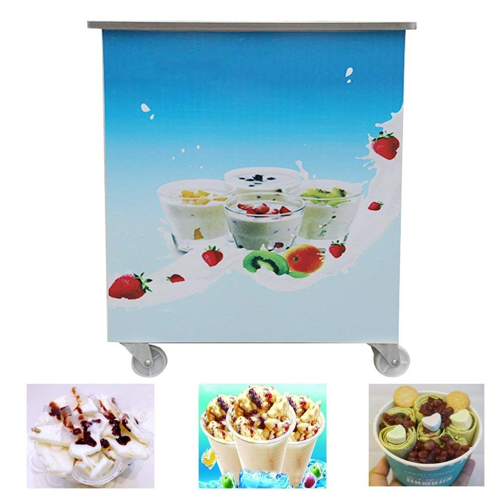 Funwill Single Round Pan Fried Ice Cream Roll Machine, Commercial Fried Milk Yogurt Machine, Ice Cream Maker 110V/220V