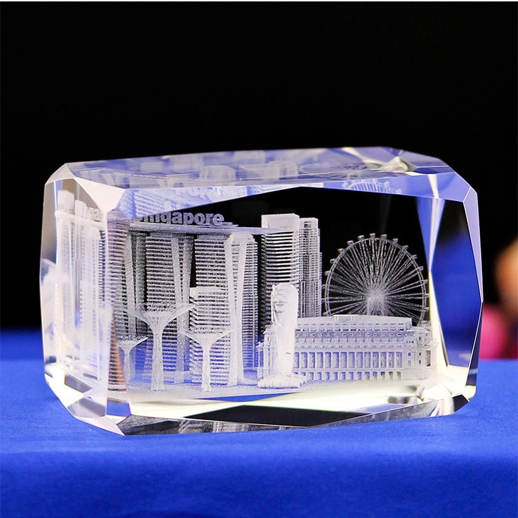 wholesale custom 3D laser engraving London tower architectural model crystal paperweight