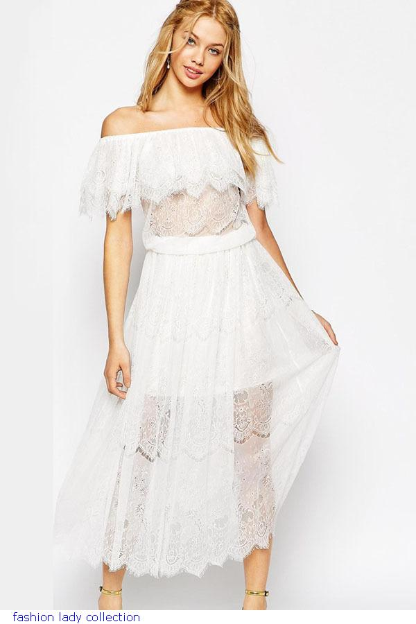 Off the shoulder white dress maxi