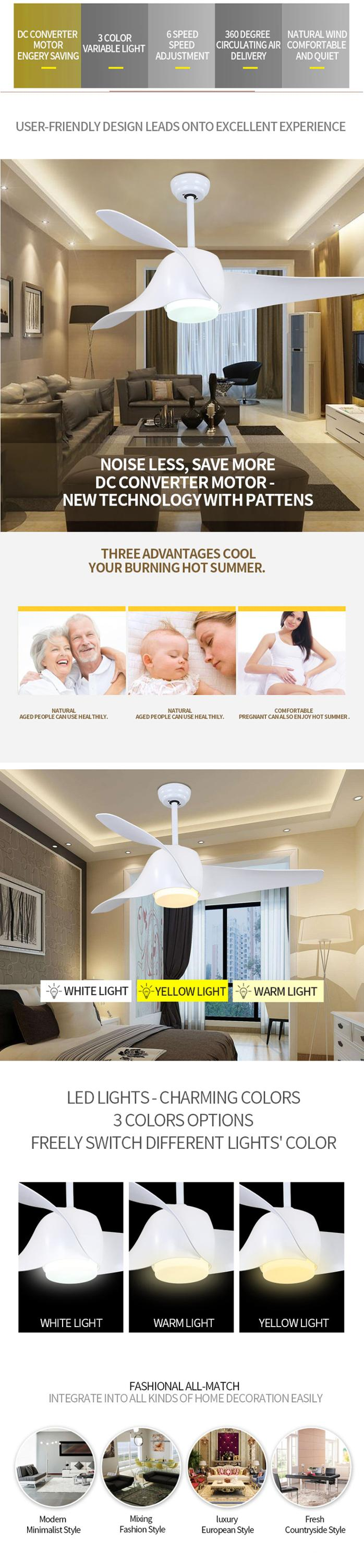 Multi-function modern design high quality energy saving electric fan with light