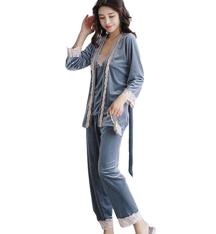 b37e19c3eae Get Quotations · Chengdah Women's Winter Flannel 3 Piece Set Comfort Sleepwear  Pajama Set, 3 Pieces Sexy Stylish