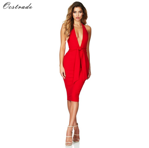 Alibaba.com / Ocstrade Hot Sale Sexy Women Deep-v Neck and Halter Party Dress Bodycon Bandage Dress