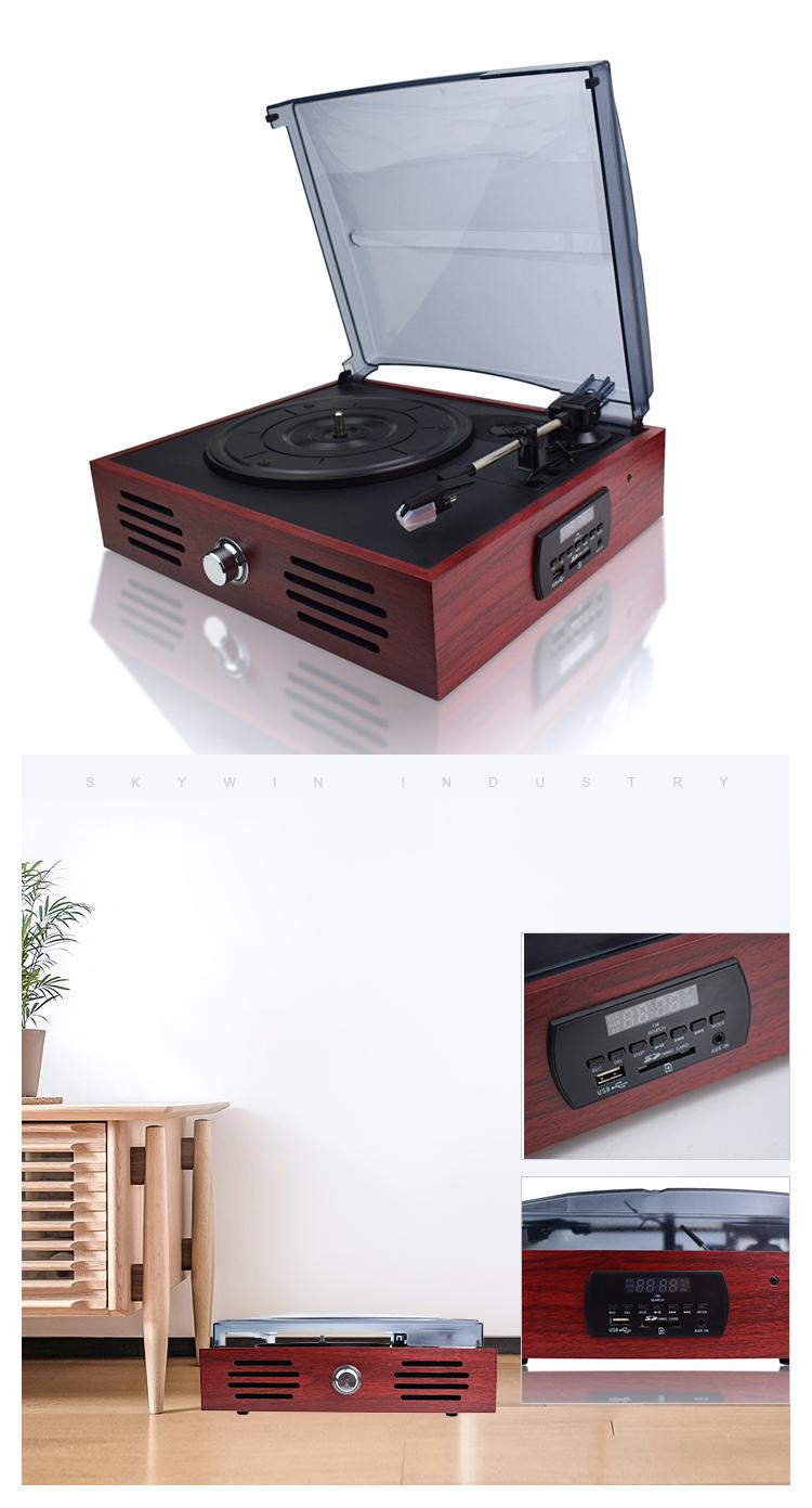 เครื่องเล่นแผ่นเสียงแผ่นเสียงไวนิล LP แผ่นเสียงเก่าแก่ที่มีลำโพงสเตอริโอในตัว