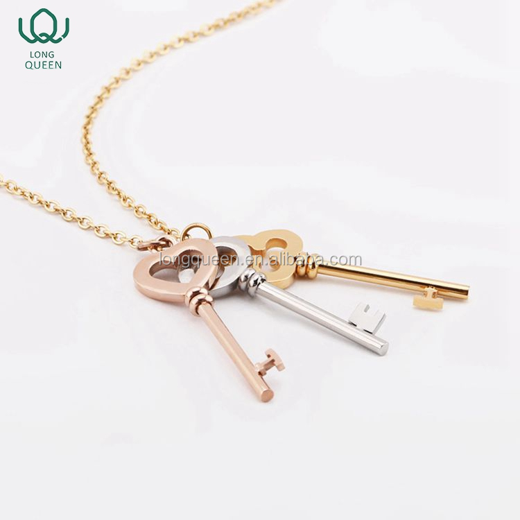 Jewelry 316L Stainless Steel Key Pendant Necklace with 3 colors plated For Women