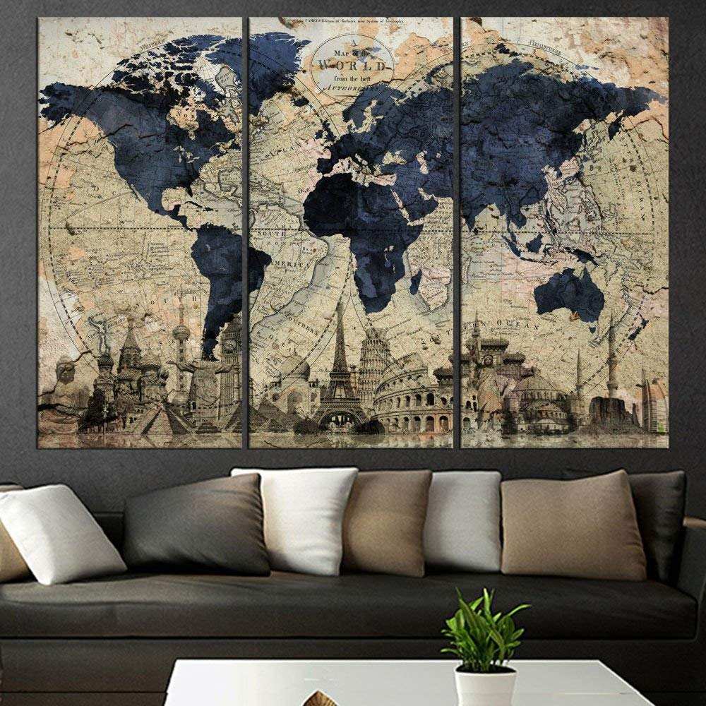 Buy Blue World Map Metal Wall Art, Large Scale Metal Wall Hanging ...
