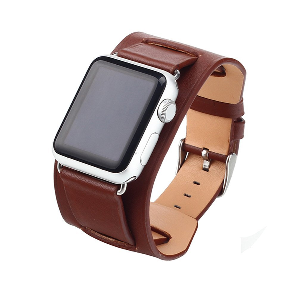 Cuitan Leather Watch Band for 42mm Apple Watch, Fashion iWatch Replacement Watchband Wristband Bracelet Strap with Steel Buckle for 42mm Apple Watch - Brown(Not included Watch)