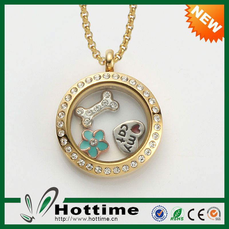 Wholesale floating charm alloy heart locket necklaces