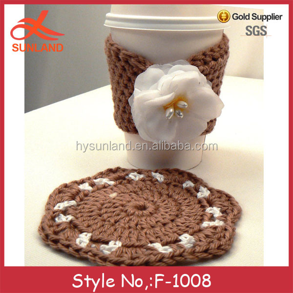 F-1008 light brown crochet custom coffee knitting coasters match mug cozy with flower