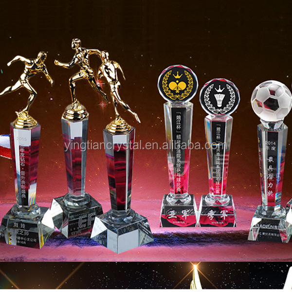 New design sport souvenirs metal crystal trophy