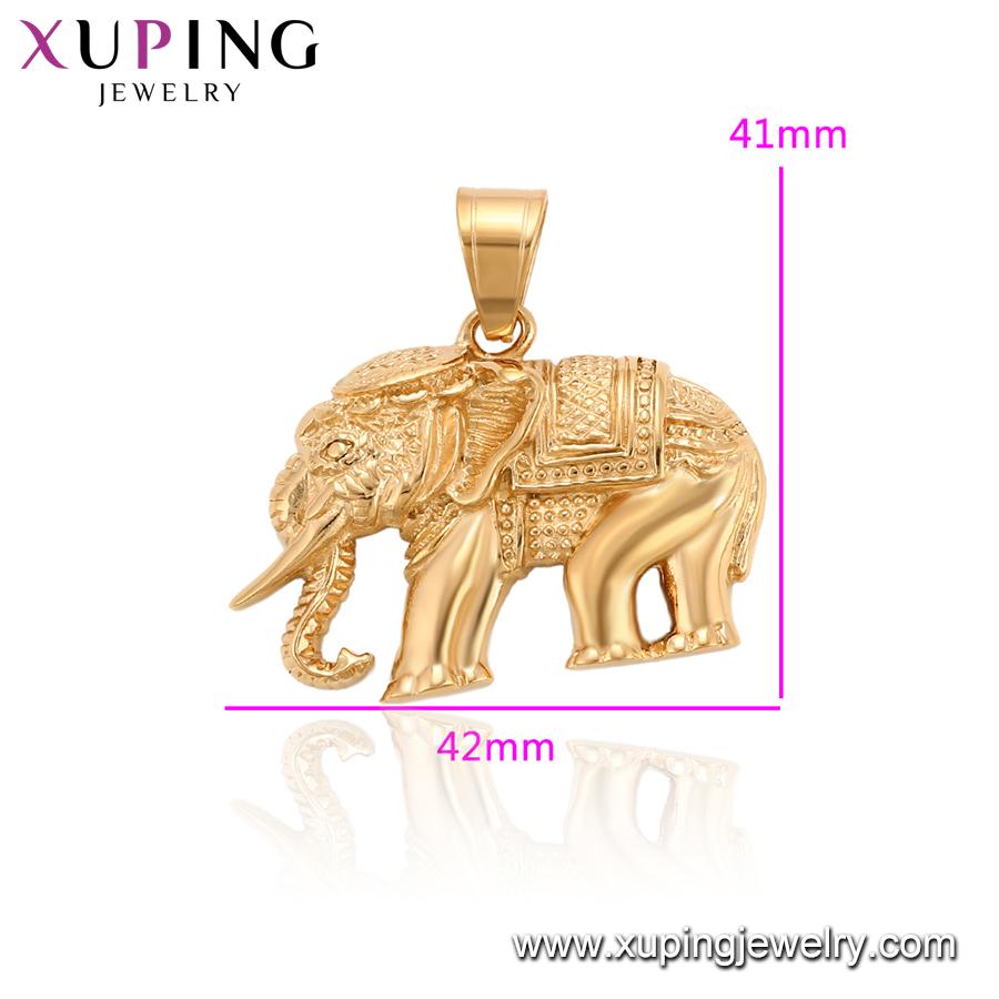 34200 aço Inoxidável Xuping thai colares animais elefante de bronze pingente de colar banhado a ouro pingentes projeta homens