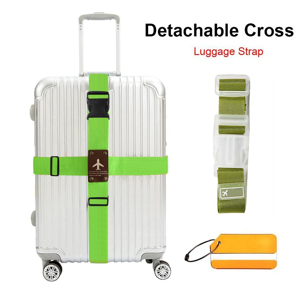 WESTONETEK Heavy Duty Detachable Adjustable Long Cross Travel Luggage Strap Packing Belts Suitcase Bag Security Straps with Additional Luggage Tag Label, Green