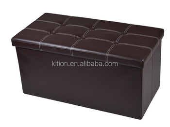 Factory Wholesale Solid Brown PVC Home Bench Storage Ottoman Stool/ Magic Foldable Storage Ottoman/Box with Button