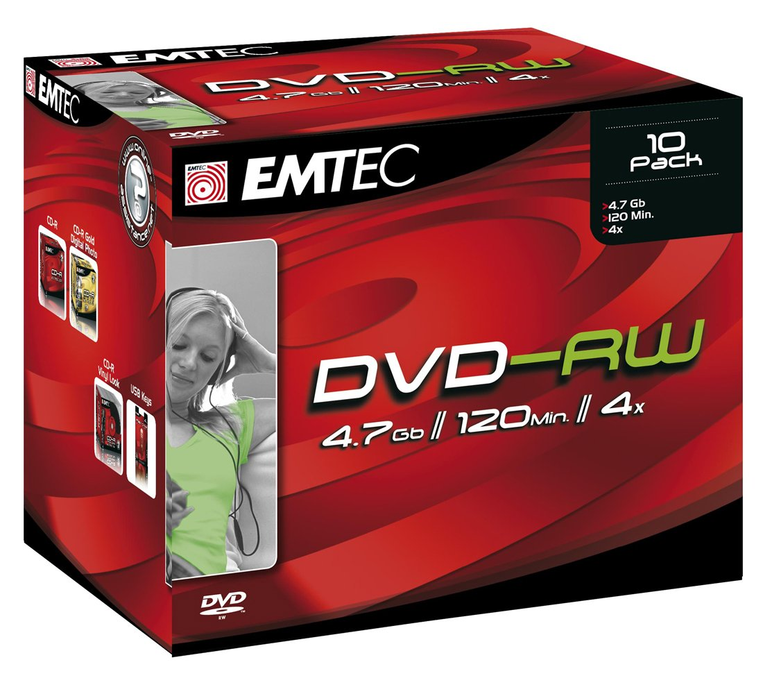 EMTEC 4.7 GB 4x Silver Single-Layer ReWritable Disc DVD-RW, EKOV-RW47104JCN, 10-Discs with Jewel Cases