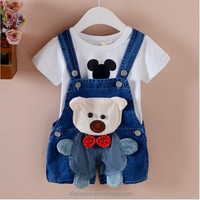 2017 popular items wholesale the OEM service cartoon funny cotton infant boys wearing deep color jean suspender trousers