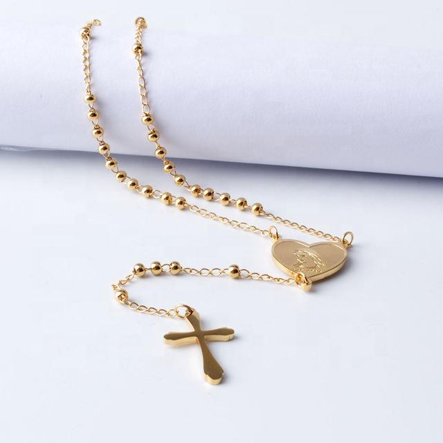 Collar de acero inoxidable con cuentas doradas, Rosario largo, corazón de la Virgen María
