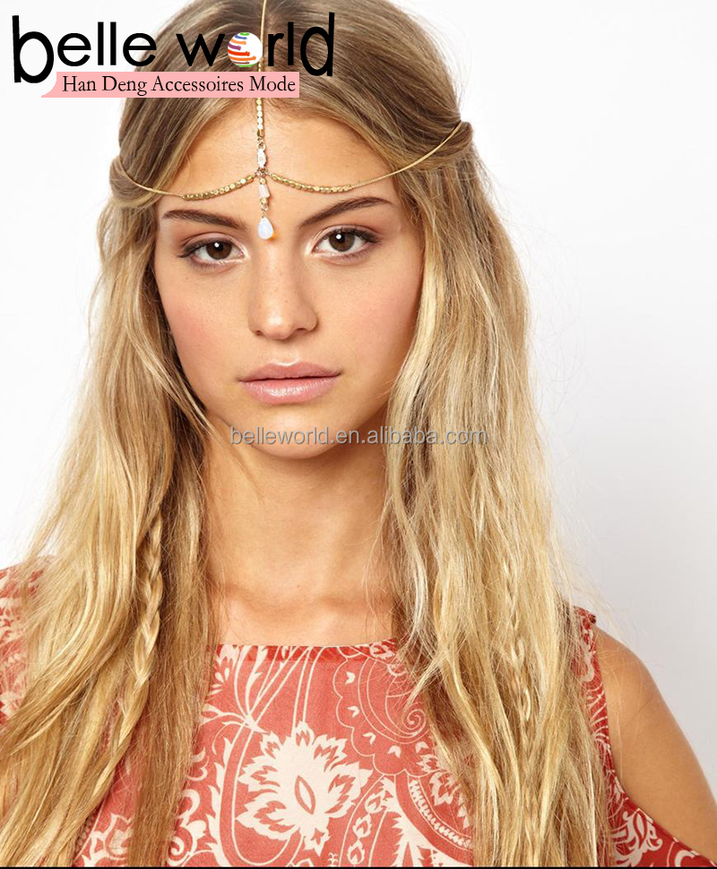 Bohemia Metal Gold color Headband Headpiece Headband Forehead Band