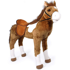 D551 Soft Giant Toy Brown Standing Stuffed Animal Plush Pony Horse Washable Painting Plush Toy