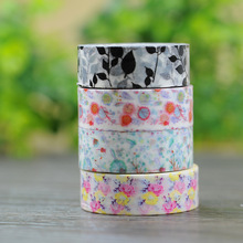 1 Roll= 15mmx10m Flower Leaves Pattern Japanese Washi Decorative Adhesive Tape DIY Masking Paper Tape Sticker Gift Free shipping