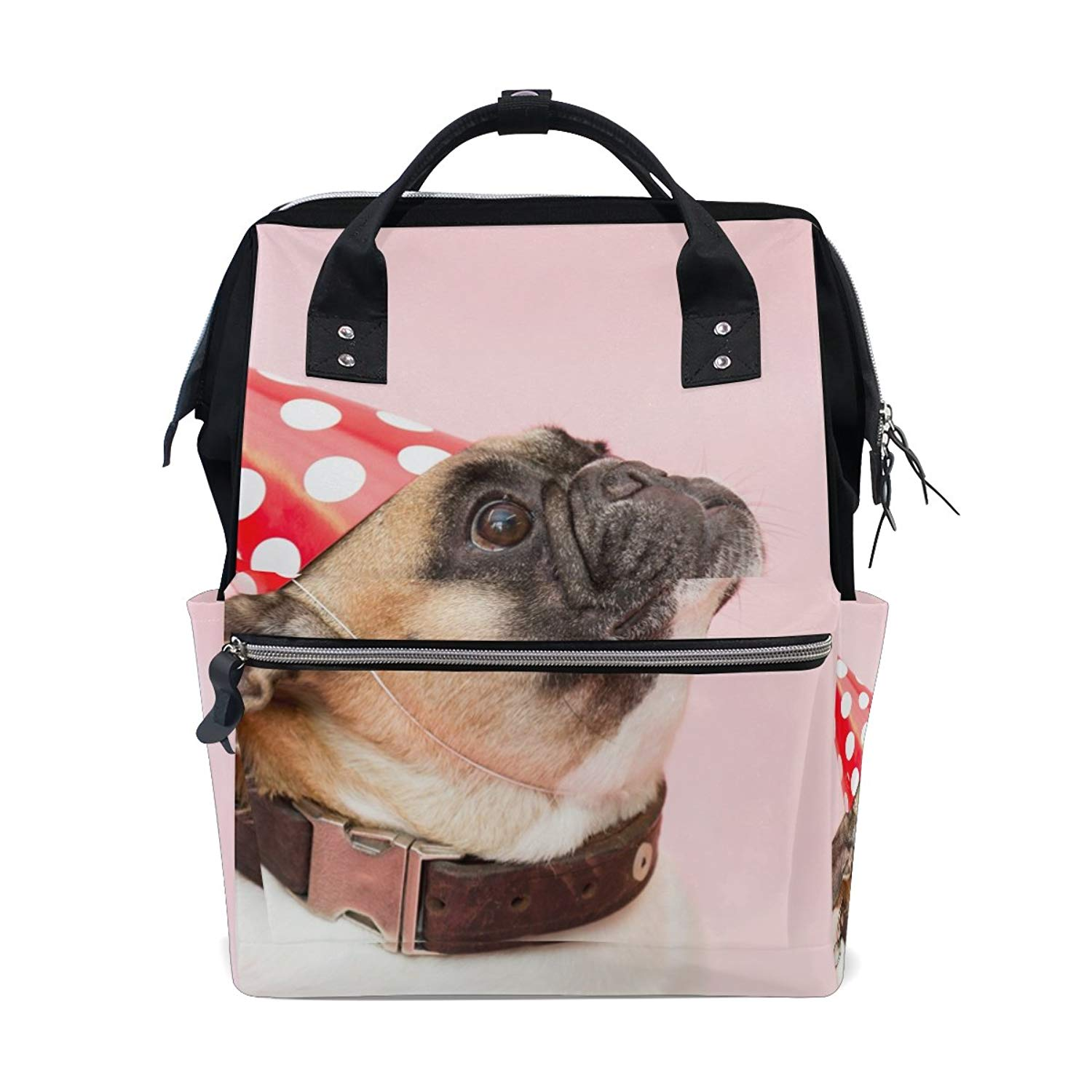 LENNEL Dog Pug Party Had Animal Pink Polka Dot Casual Backpack Lightweight  Canvas Travel Backpack for e9cd8e48aa579