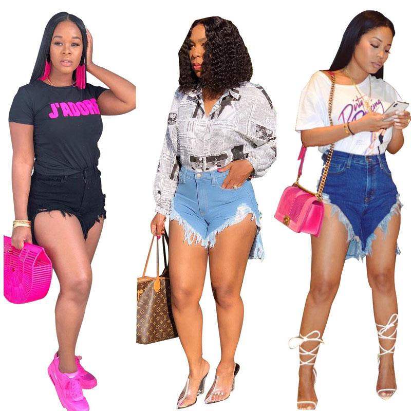 Alibaba.com / 90515-MX31 summer latest sexy asymmetrical design women jeans shorts