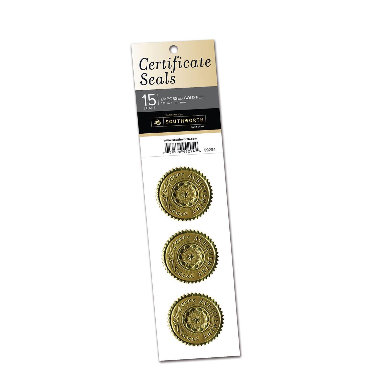 "Southworth Certificate Seals, 1.25"" x 2"",Silver Achievement, 15 Ct. (99294)"