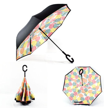 2018 high quality customize design c handle inverted umbrella windproof