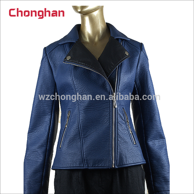 Chonghan Pakistan Customized Blue Color Leather Motorcycle Jackets For Women