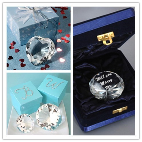 Pujiang wedding gift manufacturer best sales crystal diamonds shaped wedding gifts for guests