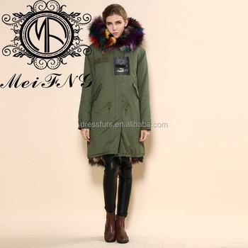 Noble Elegant Parka Coats With Fur Hood Fox Colorful Fur Thick