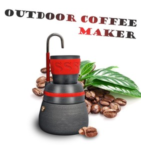 New Portable Outdoor Coffee Stove 350ML Anodized Aluminum Camping Coffee Maker Pot With 2 Cups Self Driving Tour Coffee Tools
