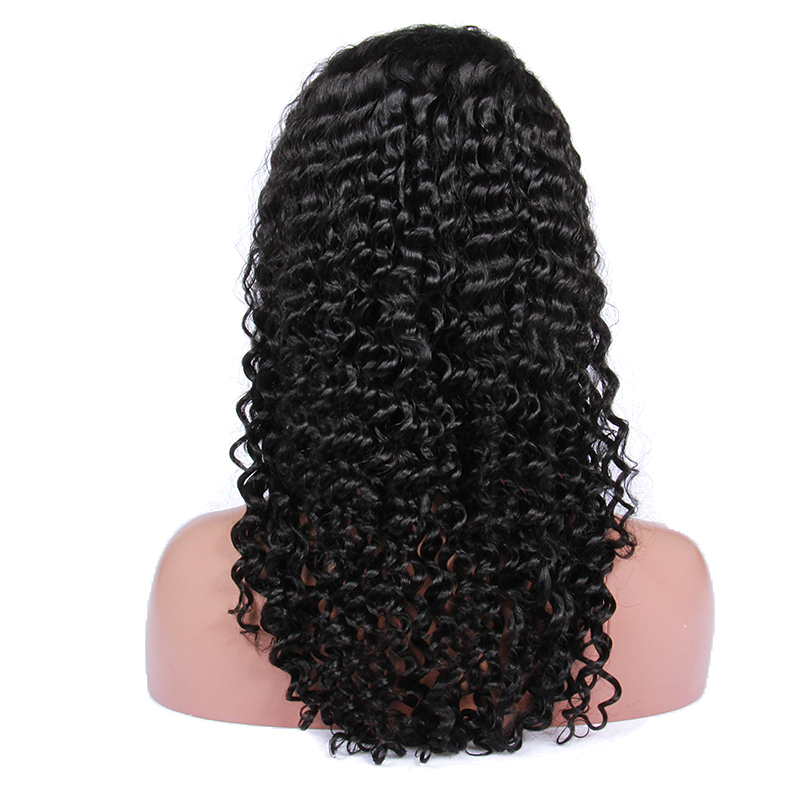 Premier <strong>natural</strong> Deep CURL human hair lace front wig with baby hair Brazilian virgin hair wig for black women
