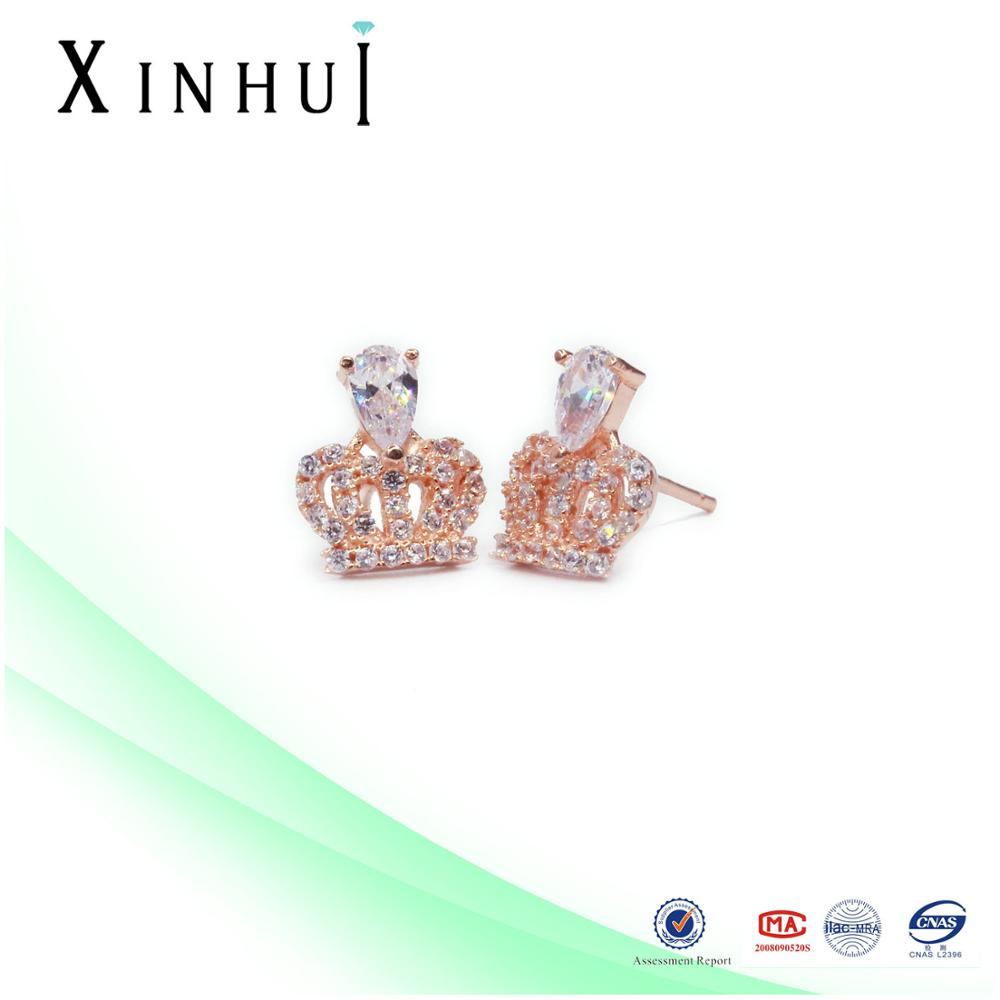 Silver 925 Rose Gold crown hanging stud earrings fashion factory price wholesale
