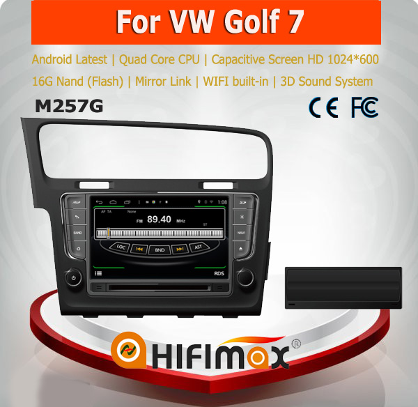HIFIMAX Android 4.4.4 car dvd gps for VW New Golf 7 WITH HD resolution 1024*600 + bulit-in wifi & mirror link