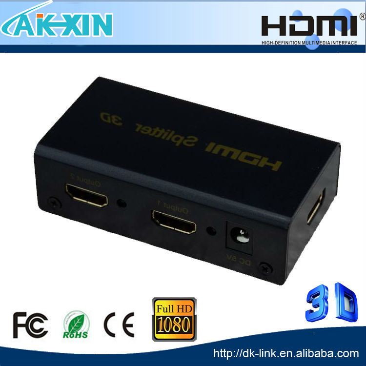 NEW HDMI SPlitter 1X2 split Full HD 3D 1.4 one HDMI input to 2 HDMI output with power cable For Audio HDTV 1080P Vedio DVD