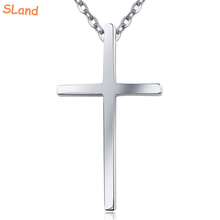 SLand Jewelry Low MOQ wholesale large size solid 925 sterling silver cross necklace pendant simple Jesu charm for men necklace