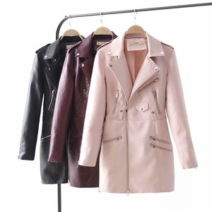 Good quality slim fit design zipper style fashion women long pu leather jacket windproof coat