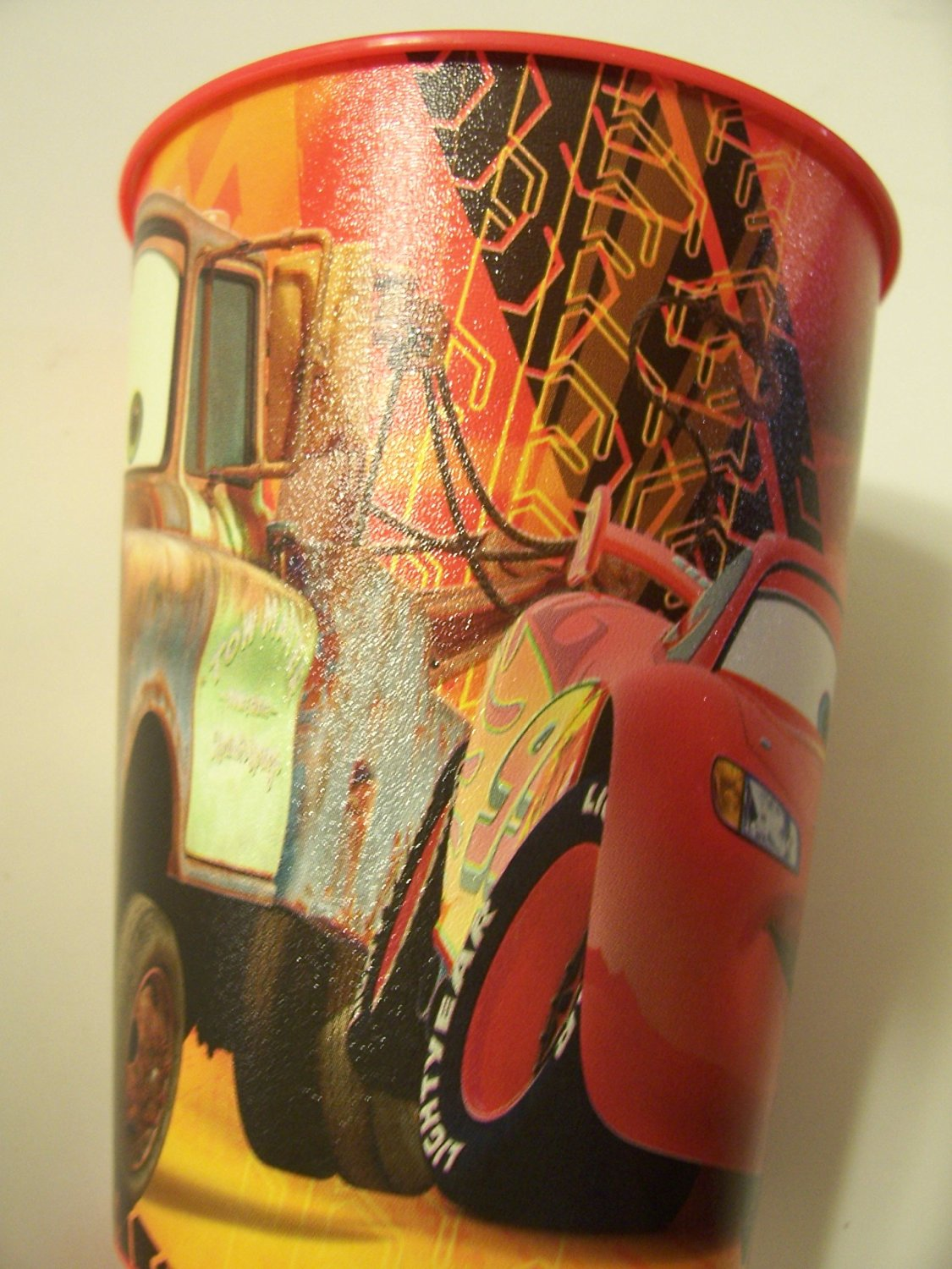 Disney Cars 2 Plastic 16 oz Reusable Party Cup ~ Tow Mater & Lightning Burning Rubber!