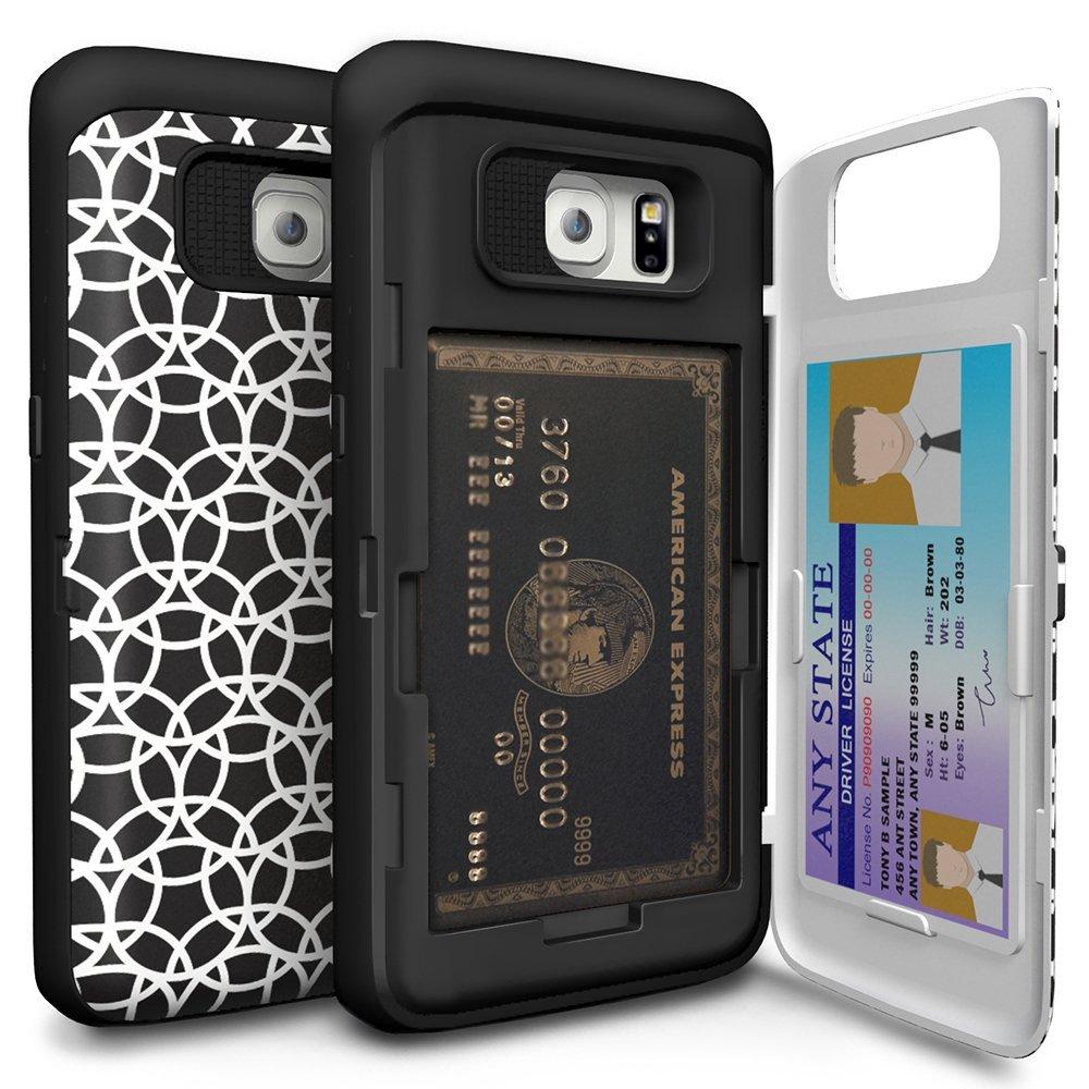 Galaxy S6 Edge Case, TORU [CX PRO] - [CARD SLOT] [ID Holder] [KICKSTAND] [DESIGNER PATTERN] Protective Hidden Wallet Case with Mirror for Samsung Galaxy S6 Edge - Circle Geo