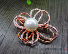 Custom beads 925 sterling silver fashion flower pendant and brooch with pearl