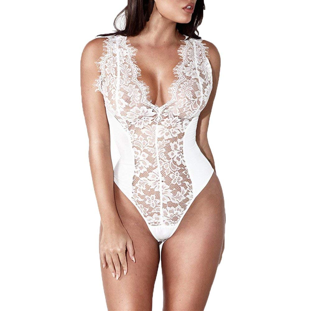 Get Quotations · Women Lingerie Lace Top DBHAWK Embroidery Lace Halter  Bustier One Piece Lingerie Sleepwear Babydoll Bodysuit For 4fd517275