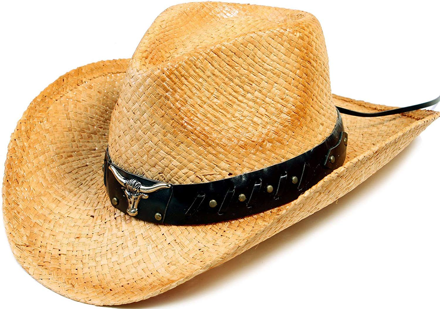 a769d41695ff1 Halconia Mens Straw Weave Western Cowboy Hat Outdoor Wide Brim Hat w Band  Decor
