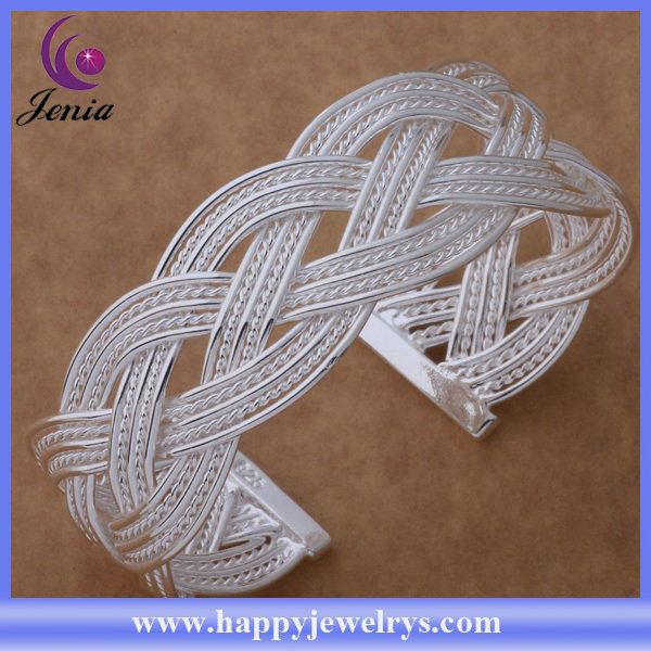 Popular design cheapest price 925 silver plated tibetan silver bangle AS128