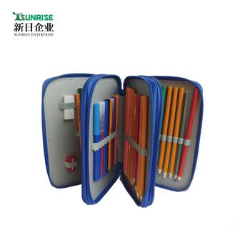 Small Heat Sublimation Printing Plain Canvas Multi-Function Color 3 Layer Soft Mesh Pocket Big Capacity 3 Zipper Pencil Case