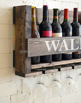 Rustic Stained Wooden Wine Rack Wall Hanging Buy Wooden Wine Rack