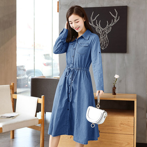 Korean style long sleeve solid blue breathable big pendulum type denim dress for women