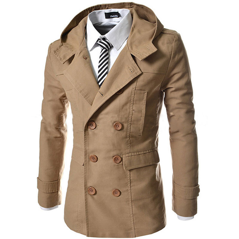 2015 New Arrival Hooded Trench Coat Men Double Breasted Long Trench Coat Men Casual Slim Fit Men's Jackets and Coats Windbreaker