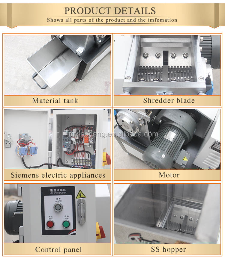 Kleine Lage Power Plastic Shredder/Verpletterende Machine Slow Speed Plastic Pijp Film Crusher Voor Spuitgietmachine