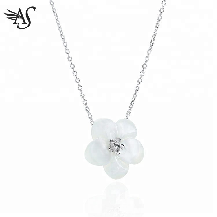 Pendant Plumeria Mother Of Pearl Flower Necklace For Women