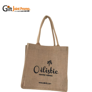 Cheap customized screen printing jute shopping tote bag